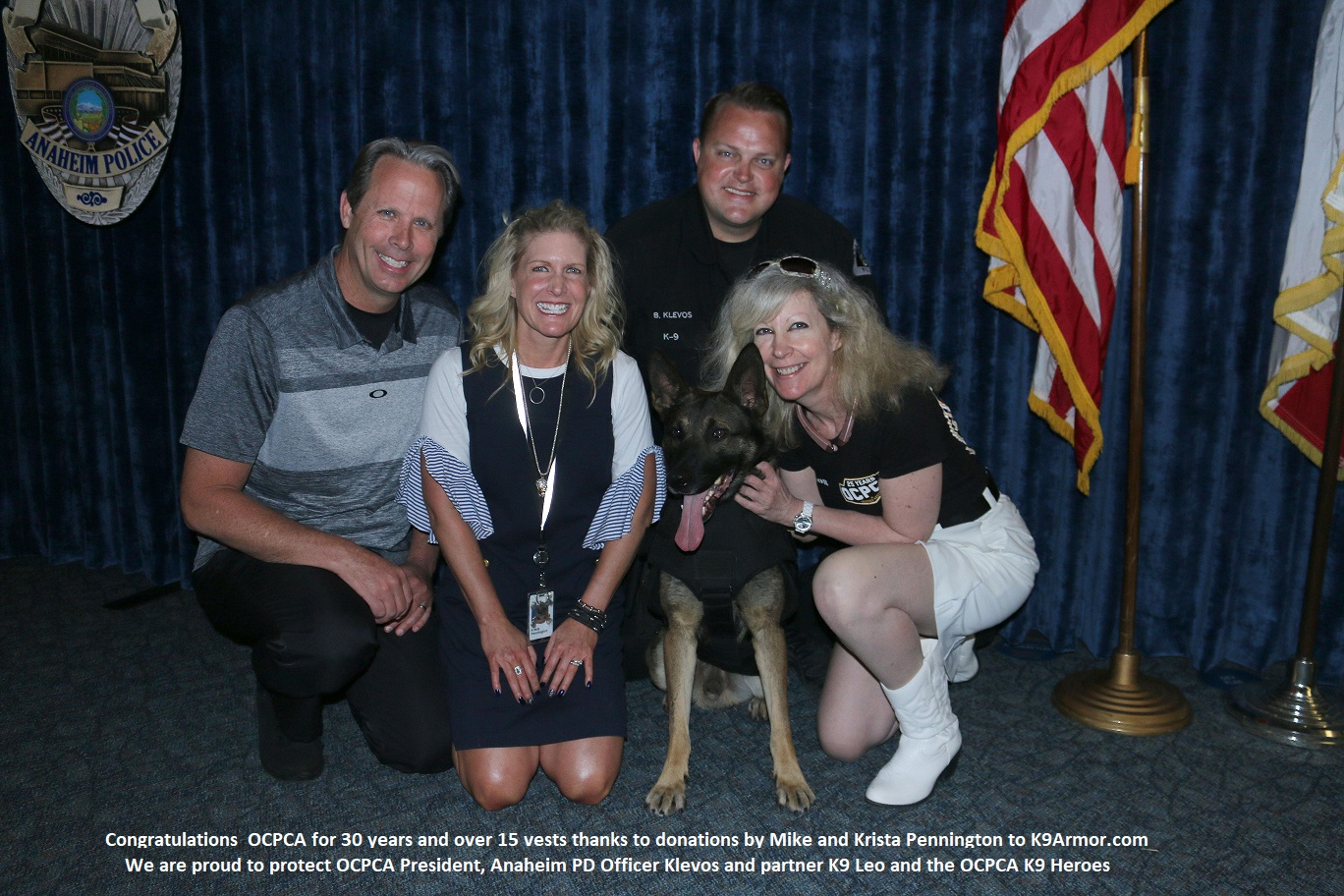 Orange County Police Canine Association President, Anaheim PD  Officer Klevos and K9 Leo with sponsors Mike and Krista Pennington with K9 Armor cofounder Suzanne Saunders