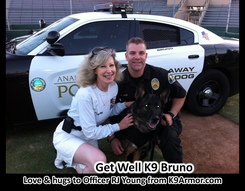 Anaheim PD K9 Bruno survived a gun shot to the face. His vest will go to his successor.
