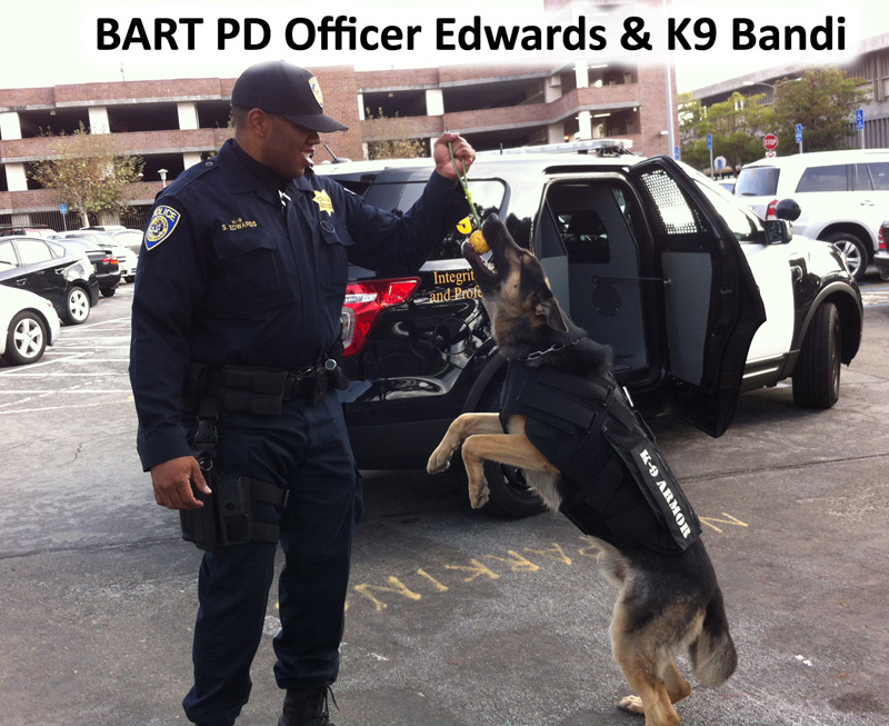 Bay Area Rapid Transit (BART) Police Officer Edwards and K9 Bandi