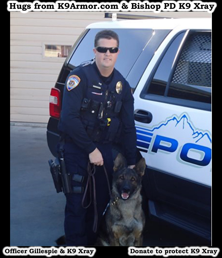 Bishop P.D. Officer Gillespie and K9 Xray