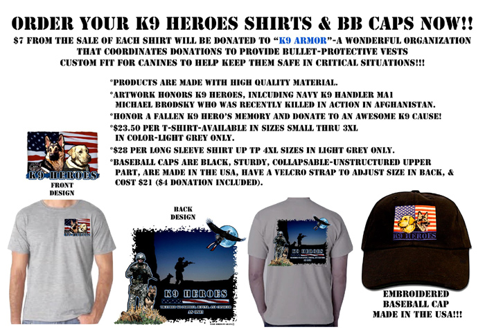 Order K9 Heroes Shirts and Caps click to open Rose Borisow web site