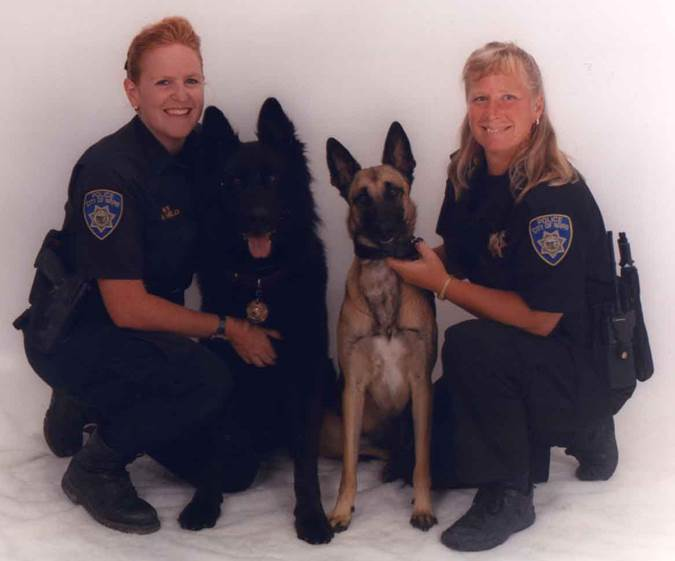 Napa Police Officer Amy Held and K9 Wolf with Lt Debbie Peecook and K9 Max