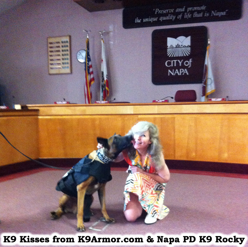 K9 Kisses from K9Armor.com and Napa PD K9 Rocky