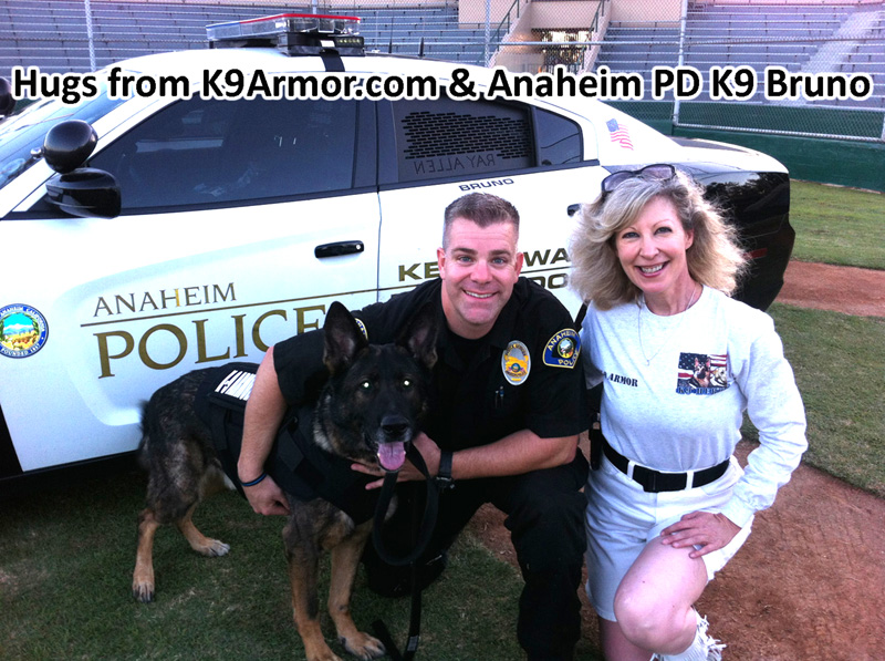Thank you Carol Dunn, who sponsored eight K9 Heroes including Anaheim PD K9 Bruno.