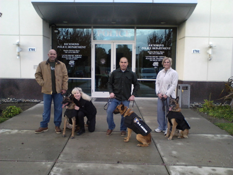 Richmond PD Officers Joe Avila with K9 Bosco, Suzanne Saunders of K-9 Armor,  Officer Mandell and K9 Rasp, San Pablo PD Officer Danielle Bowler and K9 Ivan