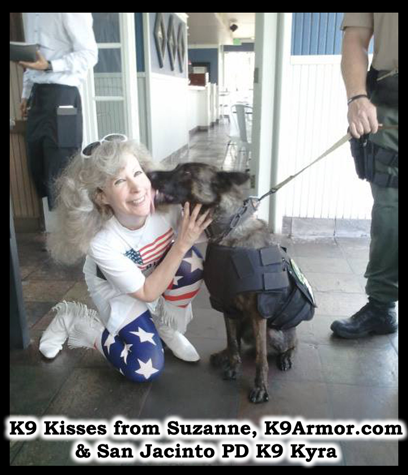 K9 Kisses from Suzanne, K9Armor.com cofounder and Riverside Sheriff - San Jacinto PD Deputy Wallace and K9 Kyra. Photo by Sgt. Williams.