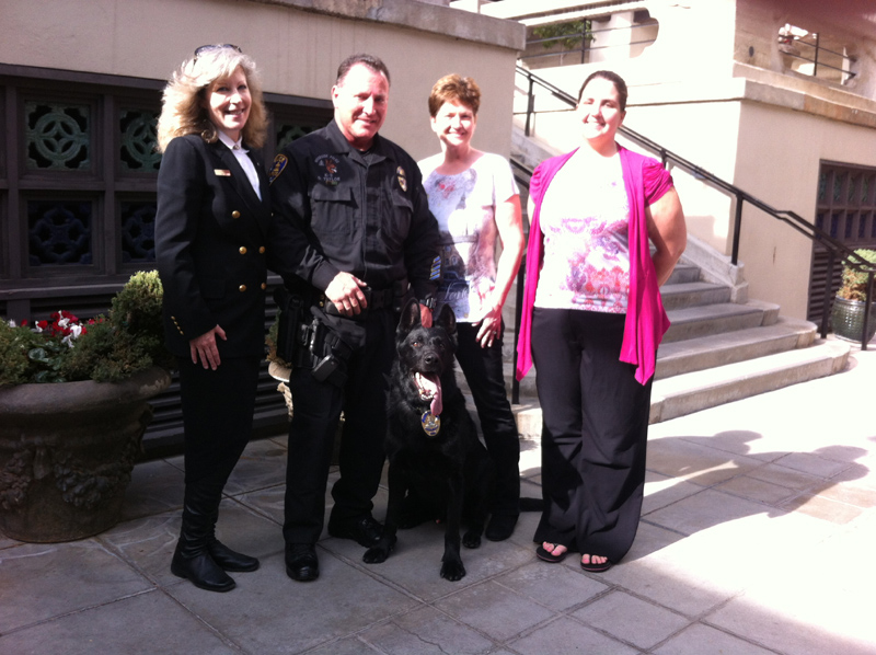 K9 Armor Cofounder Suzanne Saunders, Riverside PD Officer Dave Taylor with K9 Chacko and sponsors Connie and daughter Kristina Mlynarski