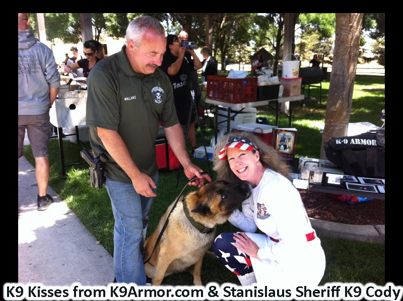 K9 Kisses from Stanislaus County Sheriff K9 Cody to K9 Armor cofounder Suzanne Saunders. Donate for a vest when Cody retires his replacement deserves a new vest