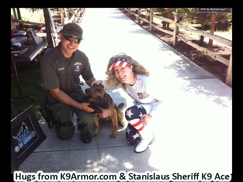 Hugs from Stanislaus Sheriff Deputy Nevarez and K9 Ace with K9 Armor cofounder Suzanne Saunders. Donate to protect Ace and 2 more of their K9 Heroes