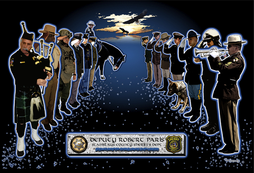 Memorial to Deputy Robert Paris by Rose Borisow. Visit her site http://www.roseborisowgrafx.com/ for more amazing artwork.