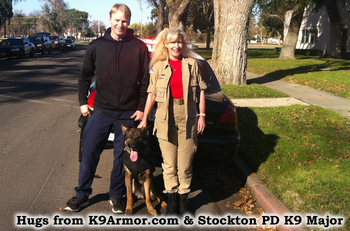 Hugs from K9Armor.com and Stockton PD K9 Major