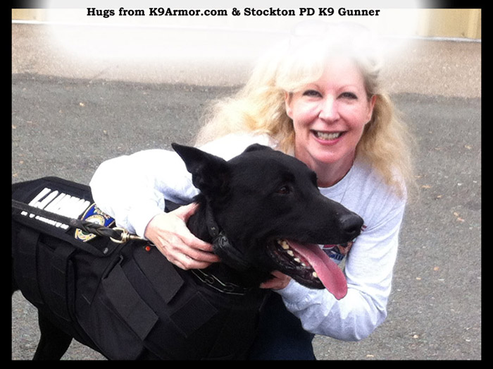 Hugs of thanks from K9Armor.com & Stockton PD K9 Gunner