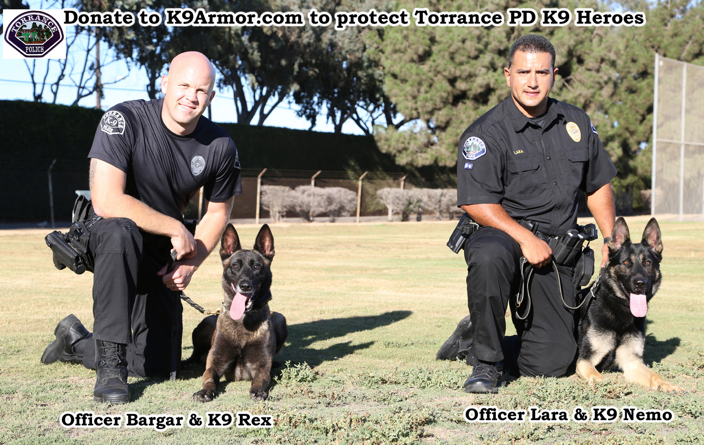 K9 Armor needs donations for Torrance PD K9 Heroes K9 Rex and K9 Nemo