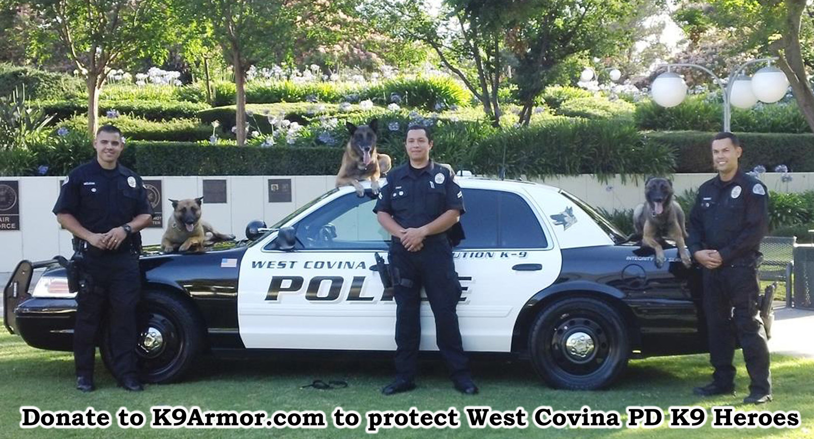 K9 Armor needs donations for 2 West Covina K9 Heroes Reiko and Rocco. We received a donation for Robbie.
