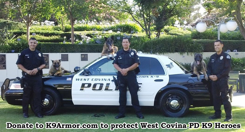 K9 Armor needs donations for West Covina PD K9 Rec and Rocky