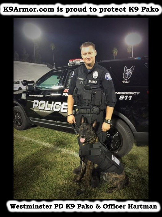 Westminster PD Officer Travis Hartman and K9 Pako, photo by Frank DAmato, OC Register